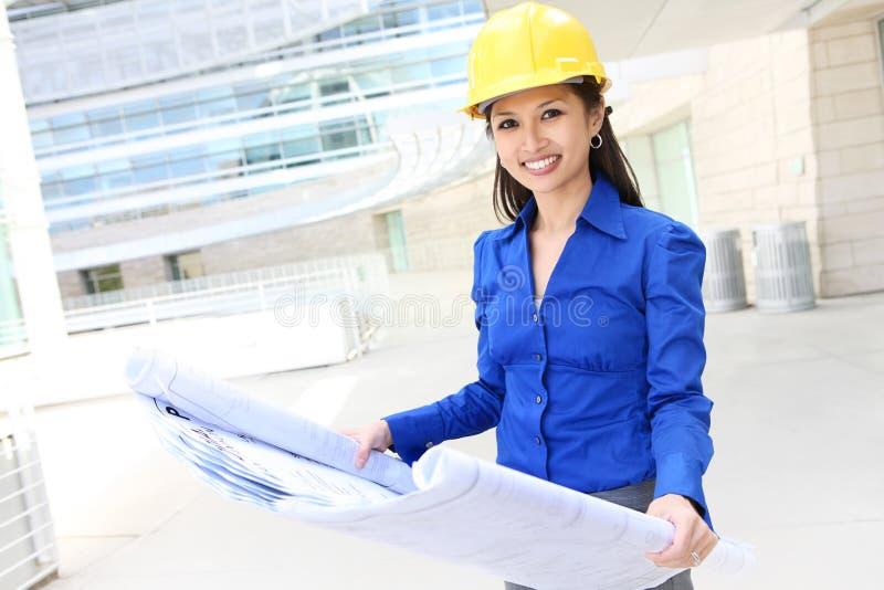 建筑师亚洲人妇女 库存照片