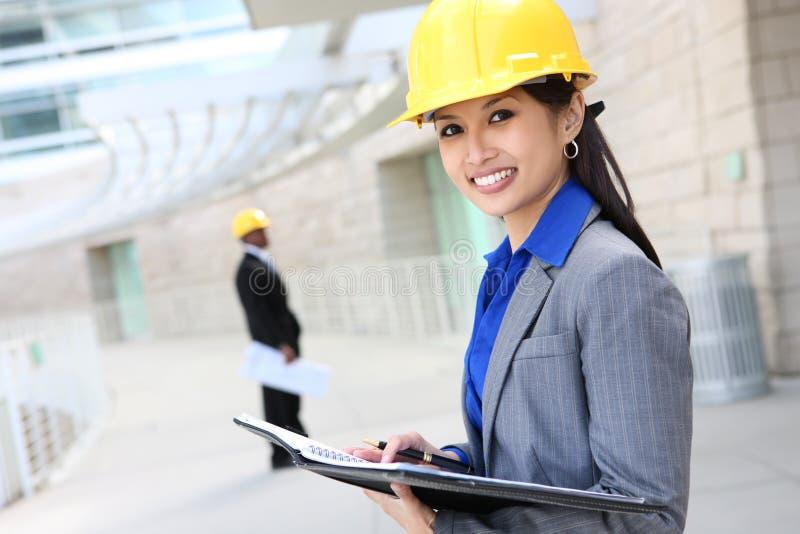 建筑师亚洲人妇女 库存图片