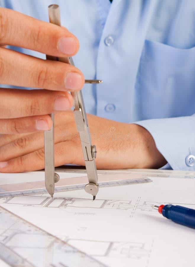 建筑师体系结构计划工作 免版税库存图片
