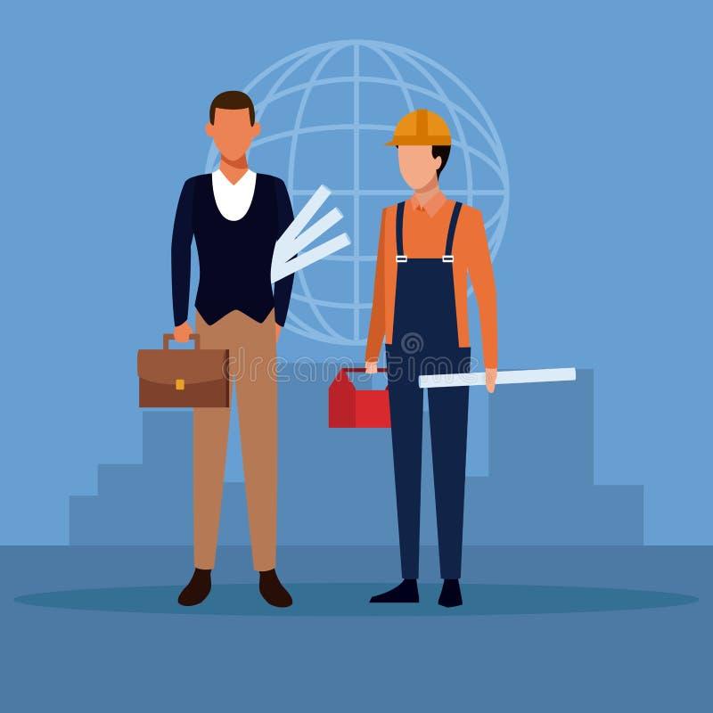 建筑师和建筑配合 向量例证