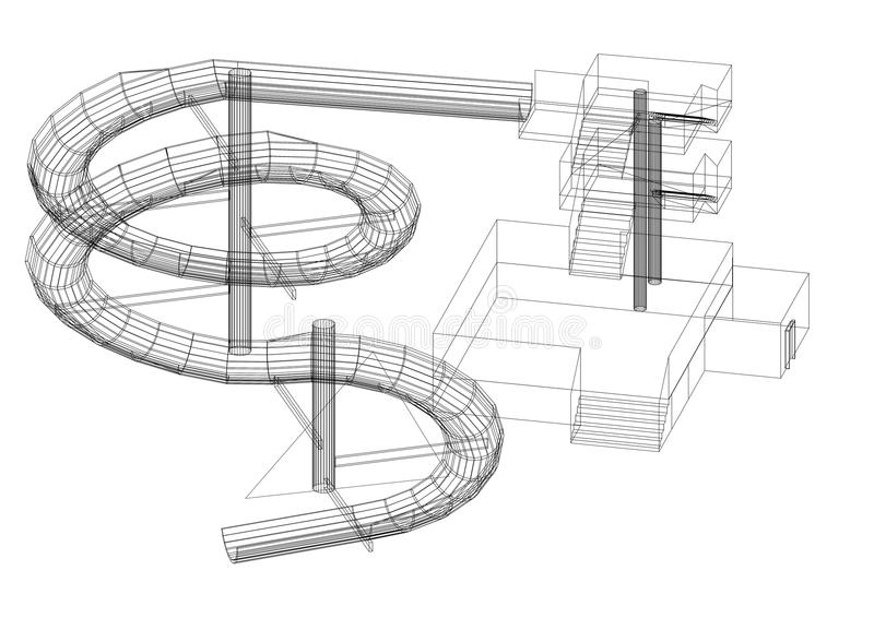 -建筑师图纸-被隔绝的水滑道设计 向量例证