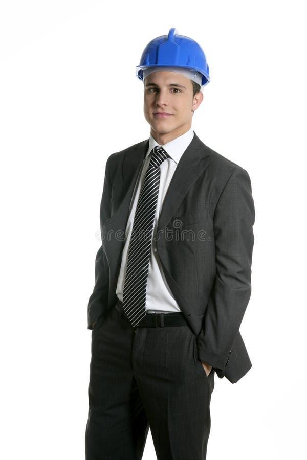 建筑师安全帽查出的纵向工作室 免版税库存图片