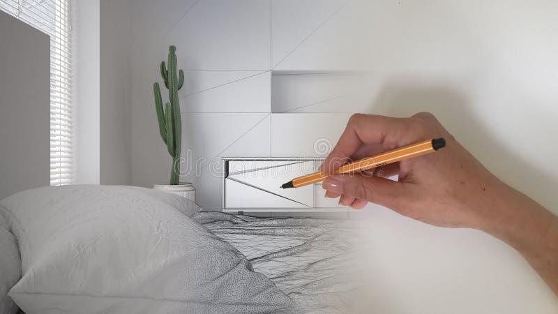 建筑师室内设计师概念:当空间成为真正,白色木现代bedr时,递得出设计内部项目 免版税库存图片