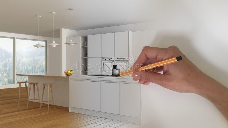 建筑师室内设计师概念:得出设计内部项目的手,当空间成为真正,现代最低纲领派白色时 免版税图库摄影