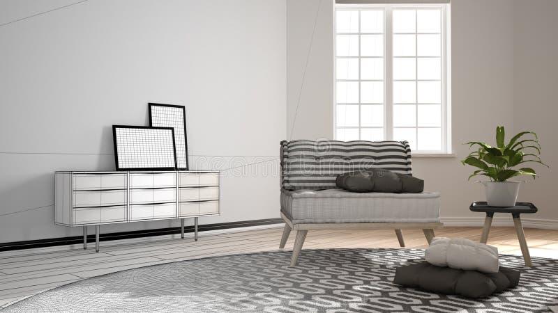 建筑师室内设计师概念:成为有大回合的真正,斯堪的纳维亚最低纲领派客厅的未完成的项目 库存例证
