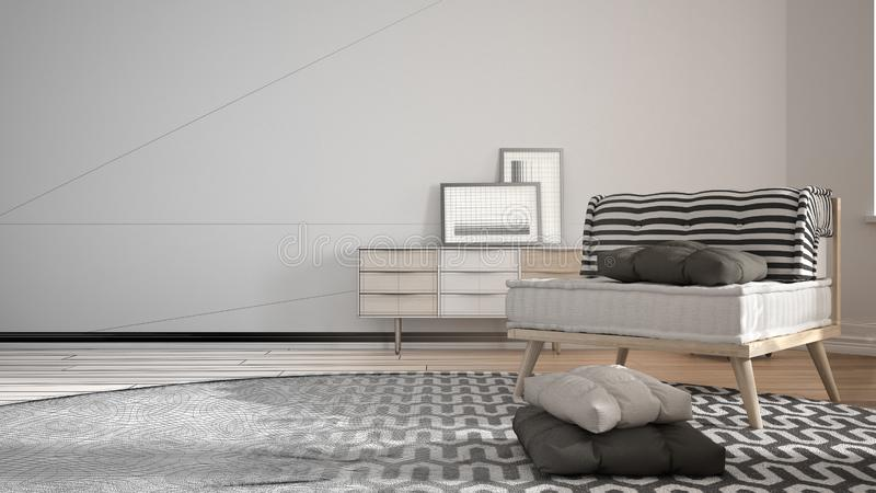 建筑师室内设计师概念:成为有大圆的地毯的真正,最低纲领派客厅和沙发的未完成的项目 库存例证