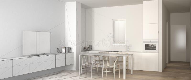 建筑师室内设计师概念:成为有饭桌的真正,最低纲领派白色厨房和木条地板的未完成的项目 皇族释放例证