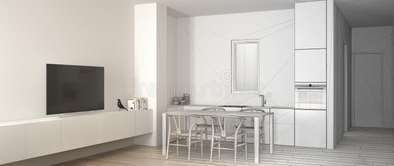 建筑师室内设计师概念:成为有饭桌的真正,最低纲领派白色厨房和木条地板的未完成的项目 向量例证