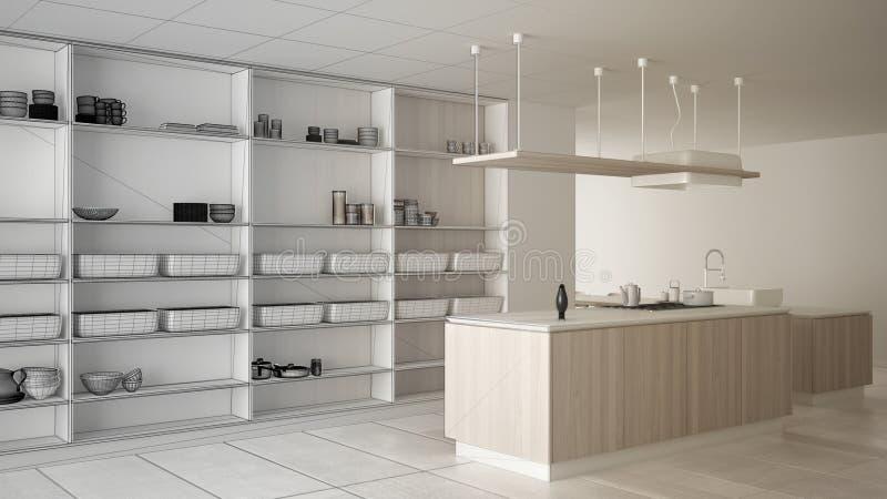 建筑师室内设计师概念:成为真正,最低纲领派豪华昂贵的白色和木厨房的未完成的项目, 向量例证