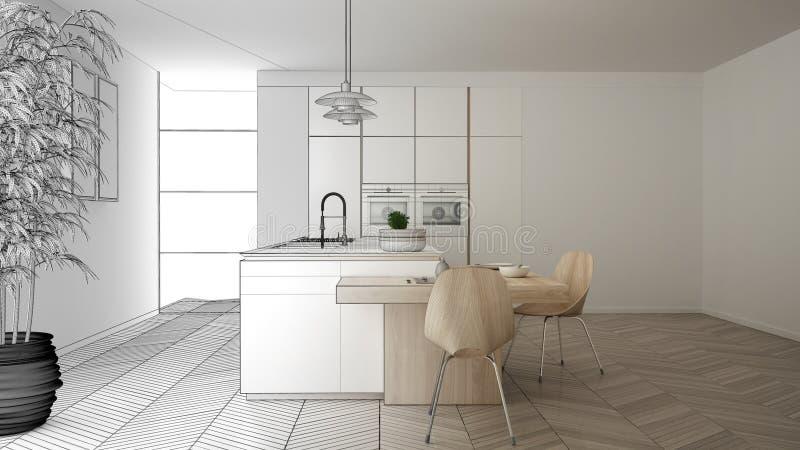 建筑师室内设计师概念:成为真正,现代当代厨房、海岛和饭桌的未完成的项目 向量例证