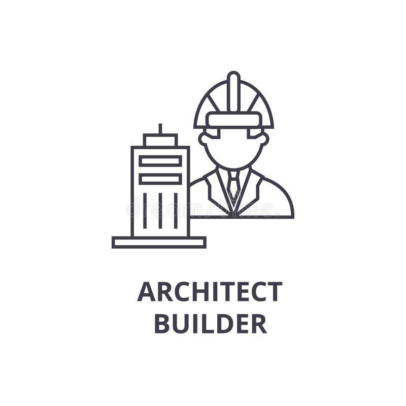 建筑师建造者传染媒介线象,标志,在背景,编辑可能的冲程的例证 库存例证