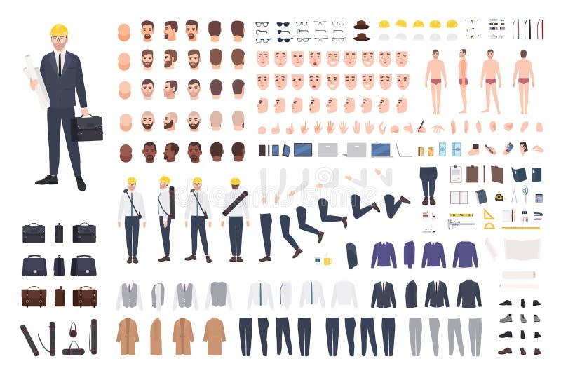 建筑师或工程师建设者或DIY成套工具 男性漫画人物身体局部,表情的汇集 库存例证
