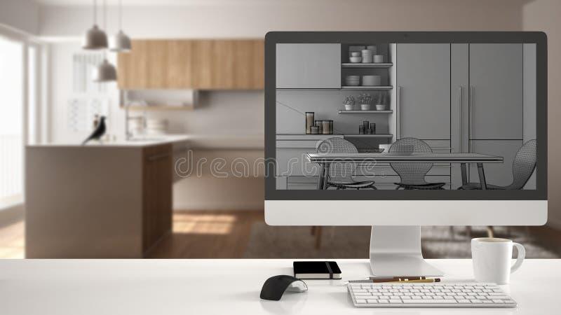 建筑师房子项目概念,在显示未完成的CAD剪影或图画,真正的完成的minim的白色工作书桌上的台式计算机 向量例证