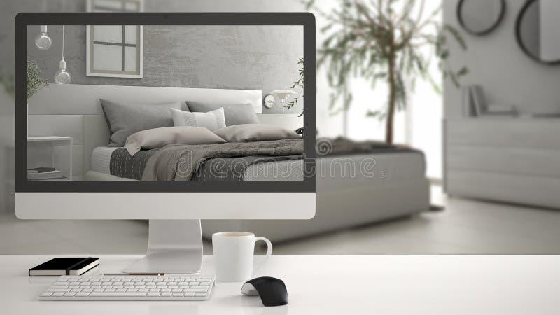 建筑师房子项目概念,在显示现代白色卧室, minimalistic被弄脏的内部d的白色工作书桌上的台式计算机 免版税库存图片
