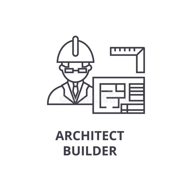 建筑师承包商传染媒介线象,标志,在背景,编辑可能的冲程的例证 向量例证