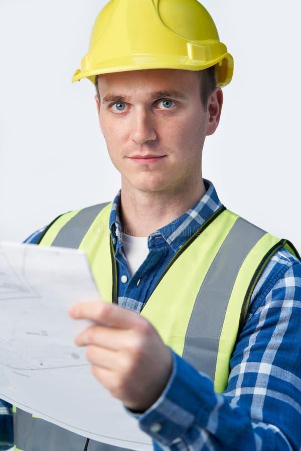 建筑师白色背景中的规划画像 库存图片