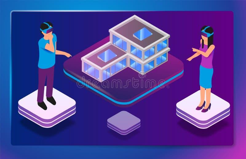 建筑师的等量被增添的虚拟现实 皇族释放例证