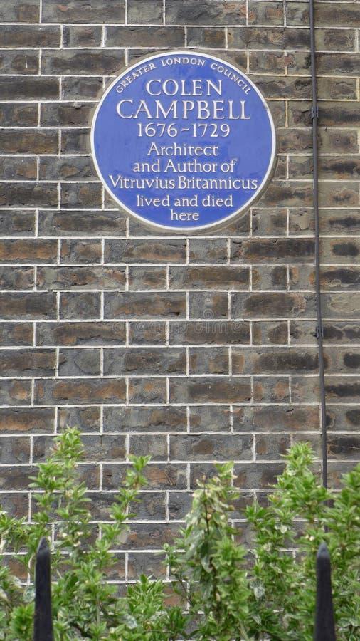 建筑师的Colen坎伯纪念蓝色匾1676-1729 伦敦,英国,英国 免版税库存图片