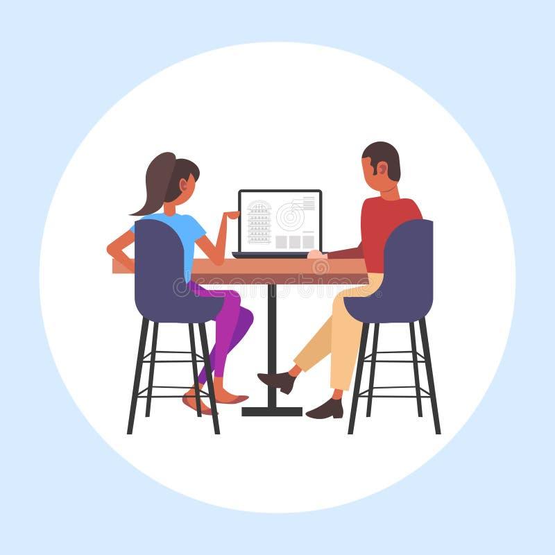 建筑师结合使用起草在显示器的膝上型计算机工程师房子项目有安置承包商的图纸的 库存例证