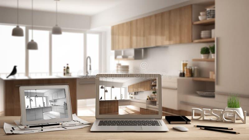 建筑师设计师桌面概念、膝上型计算机和片剂在木工作书桌上有显示室内设计项目和CAD sket的屏幕的 向量例证