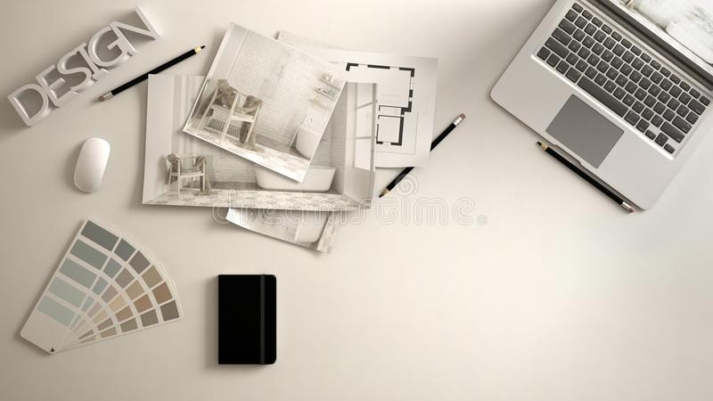建筑师设计师概念、白色工作书桌有计算机的,纸草稿、卧室项目图象和图纸 样品颜色materia 免版税库存图片