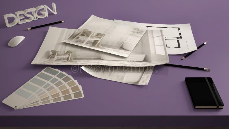 建筑师设计师概念,桌接近与内部整修草稿,卫生间室内设计图纸图画,样品col 免版税图库摄影