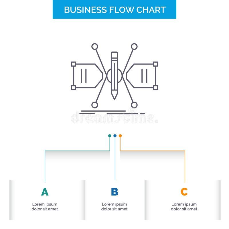 建筑师,修建,栅格,剪影,结构企业与3步的流程图设计 r 皇族释放例证