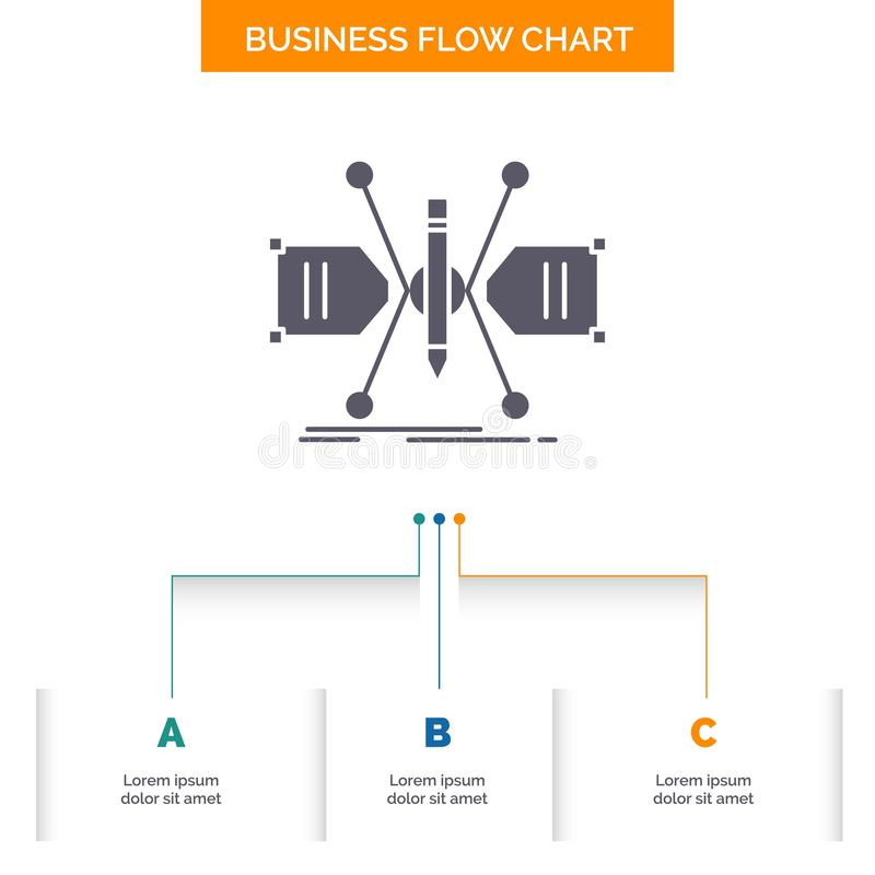 建筑师,修建,栅格,剪影,结构企业与3步的流程图设计 r 库存例证