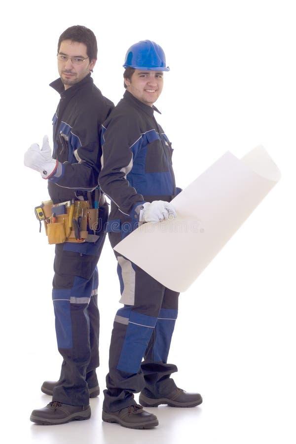 建筑成功的二工作者 免版税库存图片