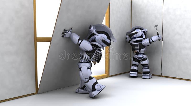 建筑承包商干式墙机器人 库存例证