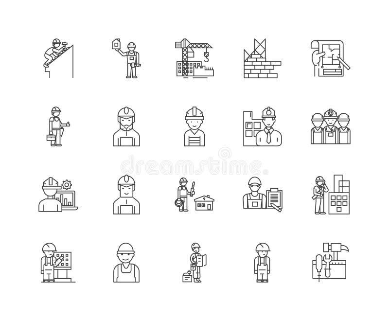 建筑承包商排行象,线性标志,传染媒介集合,概述概念例证 库存例证