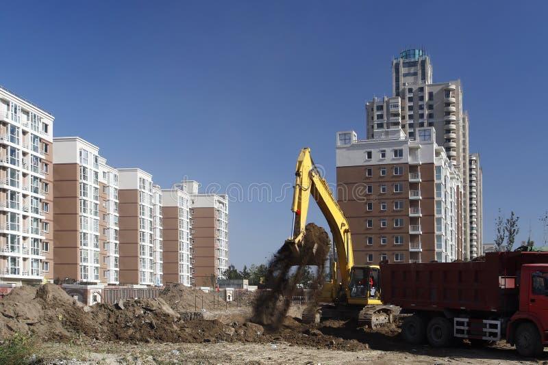 建筑挖掘机站点 免版税库存图片