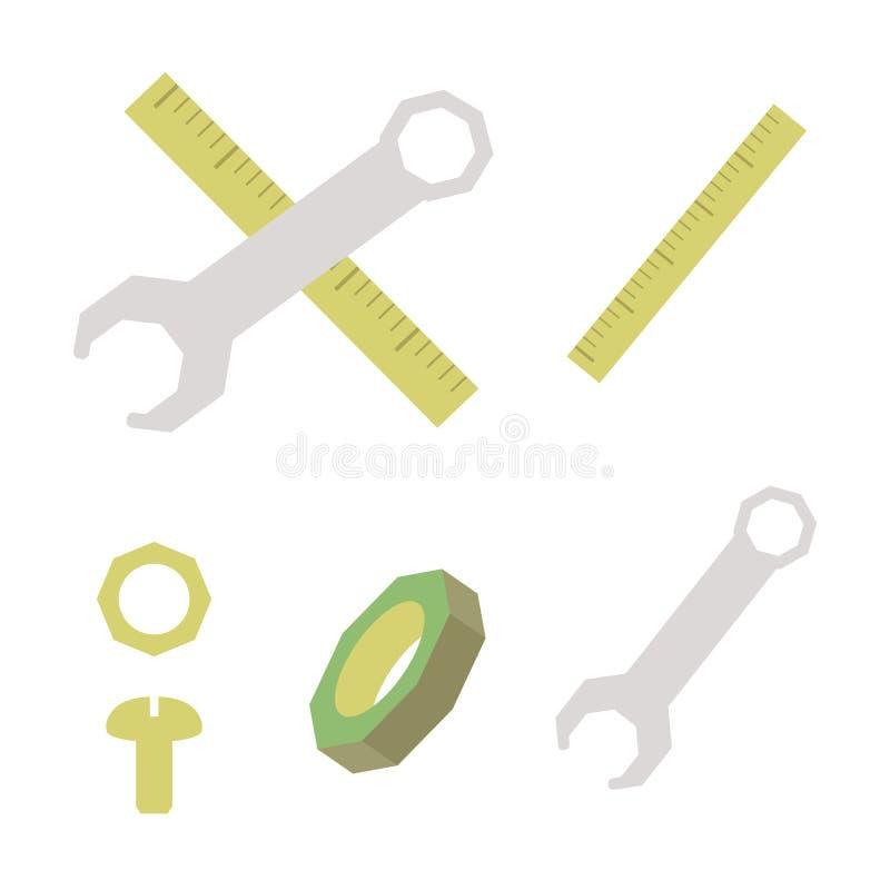 建筑材料染黄统治者螺拴螺母和灰色金属板钳向量化在白色背景 库存例证