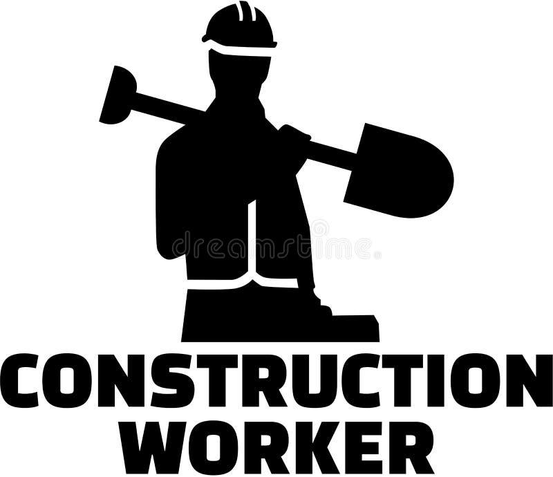 建筑查出的好成套装备工作者 与职称的剪影 库存例证