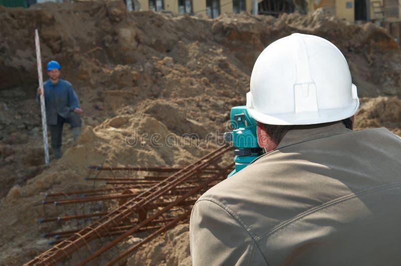 建筑测量员工作 库存照片