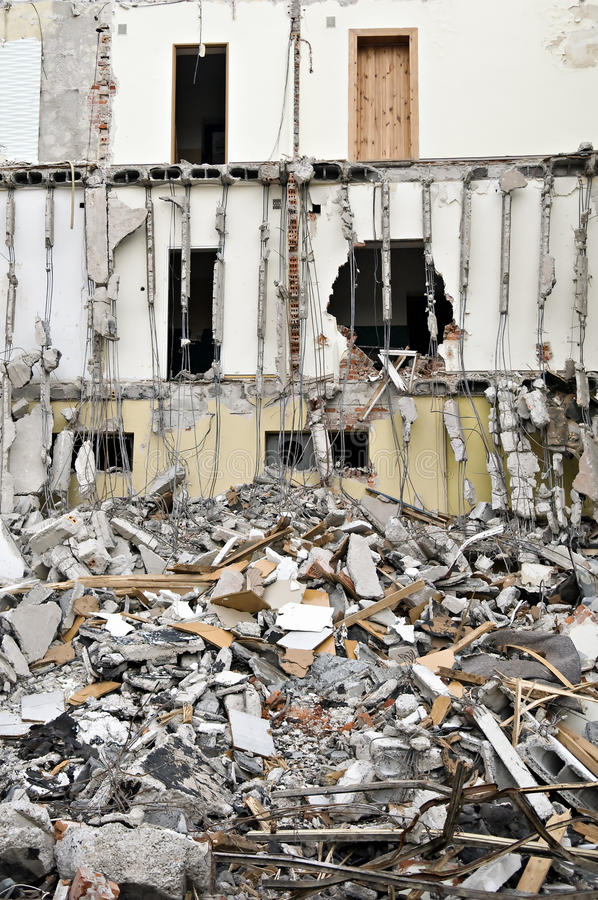 建筑物瓦砾被毁坏的系列 免版税库存图片