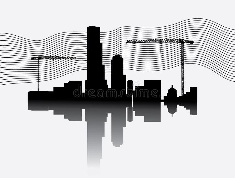 建筑用起重机剪影站点塔 库存例证