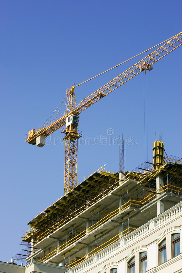 建筑用起重机站点 库存照片