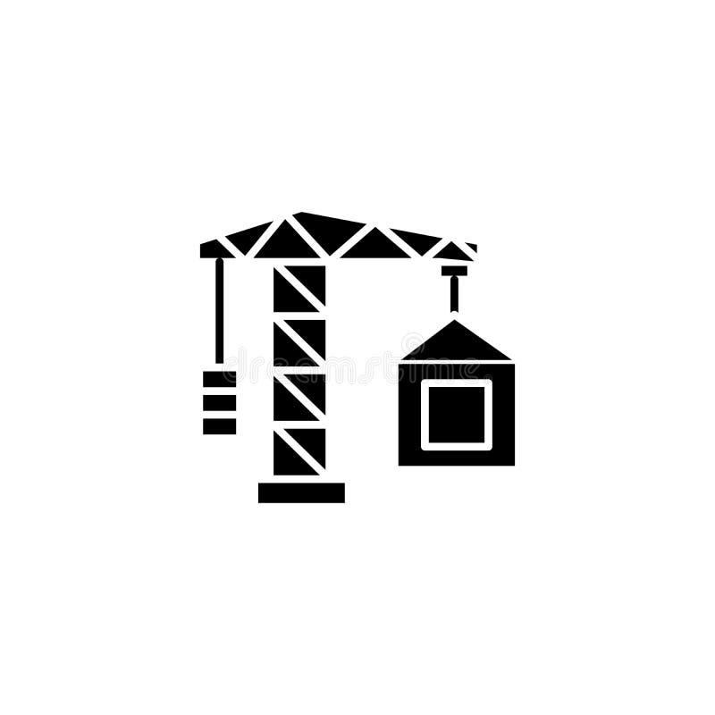 建筑用起重机黑色象概念 建筑用起重机平的传染媒介标志,标志,例证 皇族释放例证