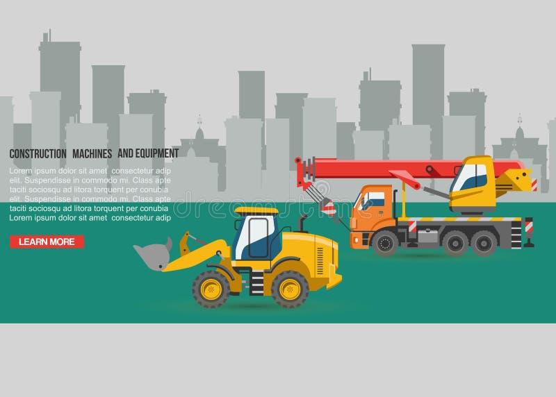 建筑的传染媒介挖掘机 挖掘与铁锹和挖掘起重机机械产业的挖掘者或推土机 皇族释放例证