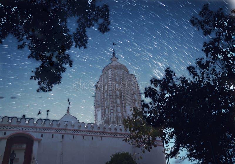 建筑的夜间摄影 印度兰基贾甘纳寺夜间银色星树枝 免版税库存照片