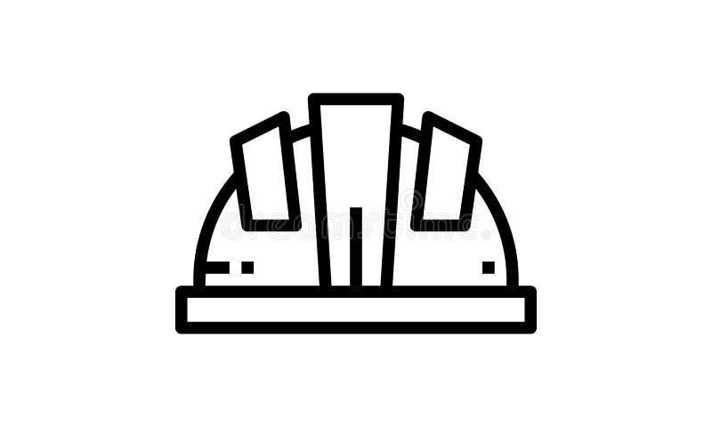 建筑盔甲传染媒介线象,标志,在背景,编辑可能的冲程的例证 皇族释放例证