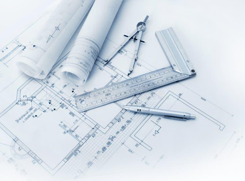 建筑计划工具 库存照片