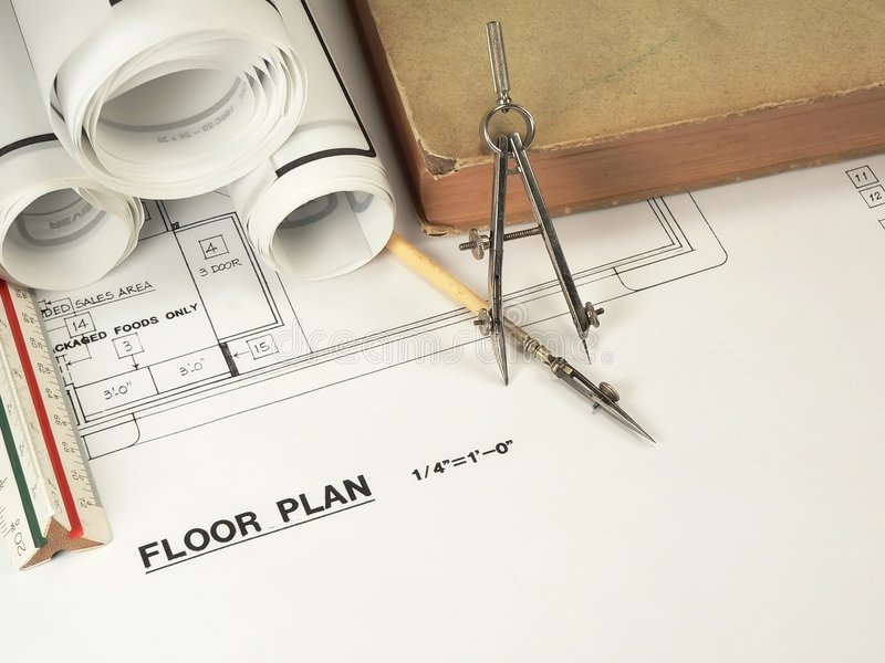 建筑设计工具 免版税库存图片