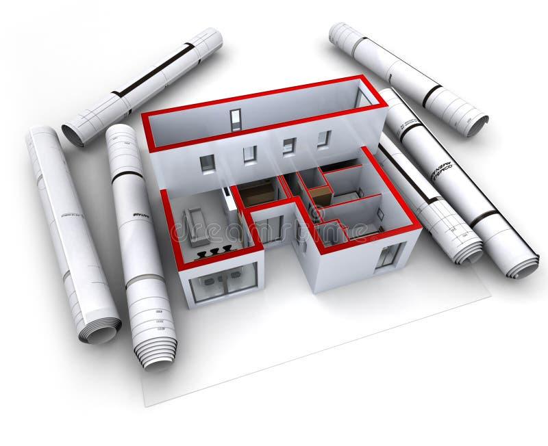建筑设计设计红色 皇族释放例证