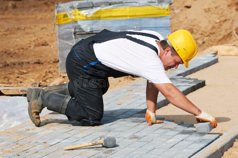 建筑路面边路工作 免版税库存照片
