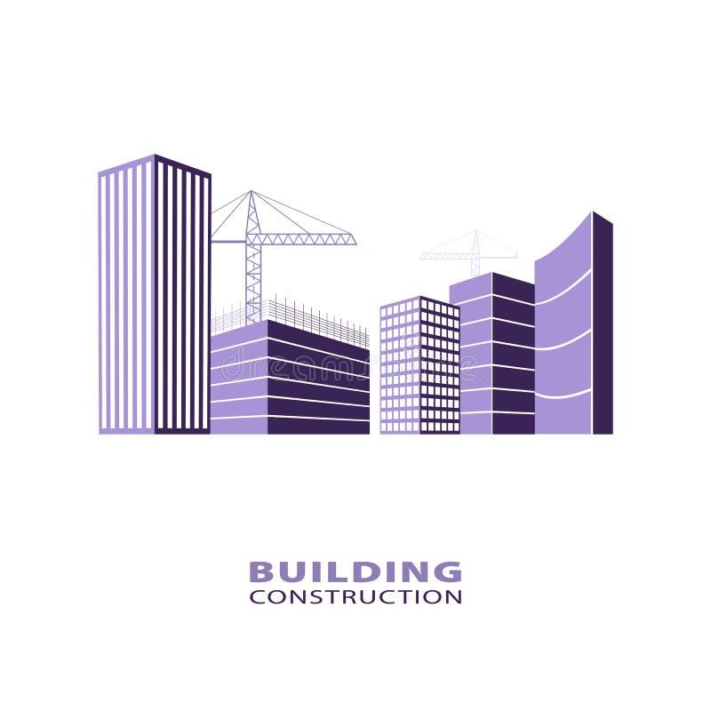 建筑运作的产业概念 大厦和大厦起重机剪影  在紫罗兰的楼房建筑商标 向量例证