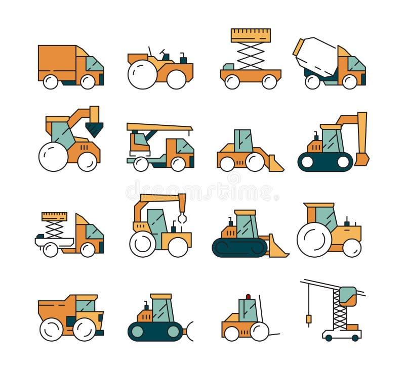 建筑运输 大量手段卡车在机器的沥青高速公路举起重机推土机拖拉机的建造者的 库存例证
