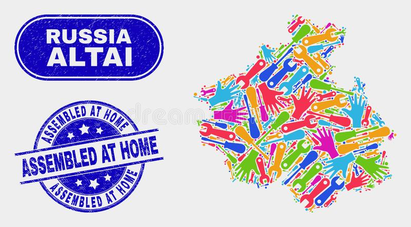 建筑阿尔泰共和国地图和困厄在家装配了邮票 皇族释放例证
