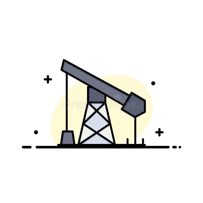 建筑,产业,油,气体企业平的线填装了象传染媒介横幅模板 向量例证